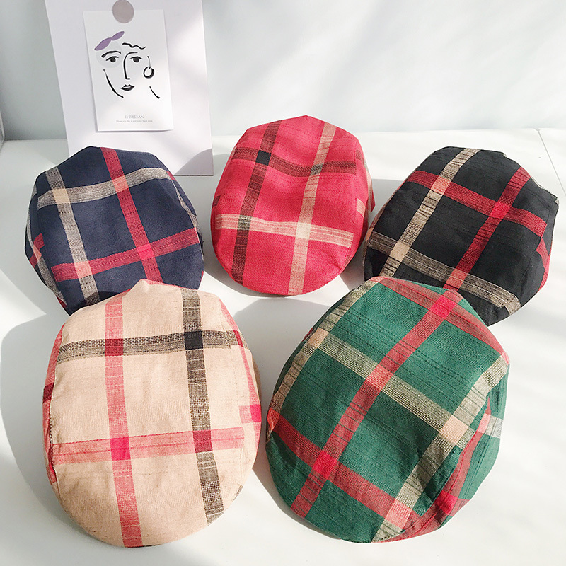 2019 Europe style Plaid Beret Hat Women Girl fashion Autumn Winter Newsboy Cap Octagonal cap