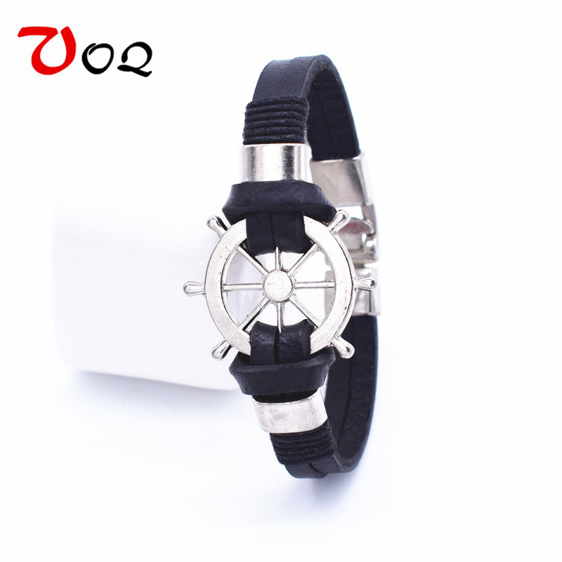 Wholesale New Design Punk Rudder Style Anchor Leather Bracelet Men Fashion Cuff Bracelets For Women Jewelry