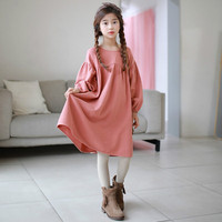 New 2018 Brand Baby Girls Dress Long Sleeve Kids Cotton Dress Children Vintage Dress cotton Fashion Trend Toddler Dress,#3144