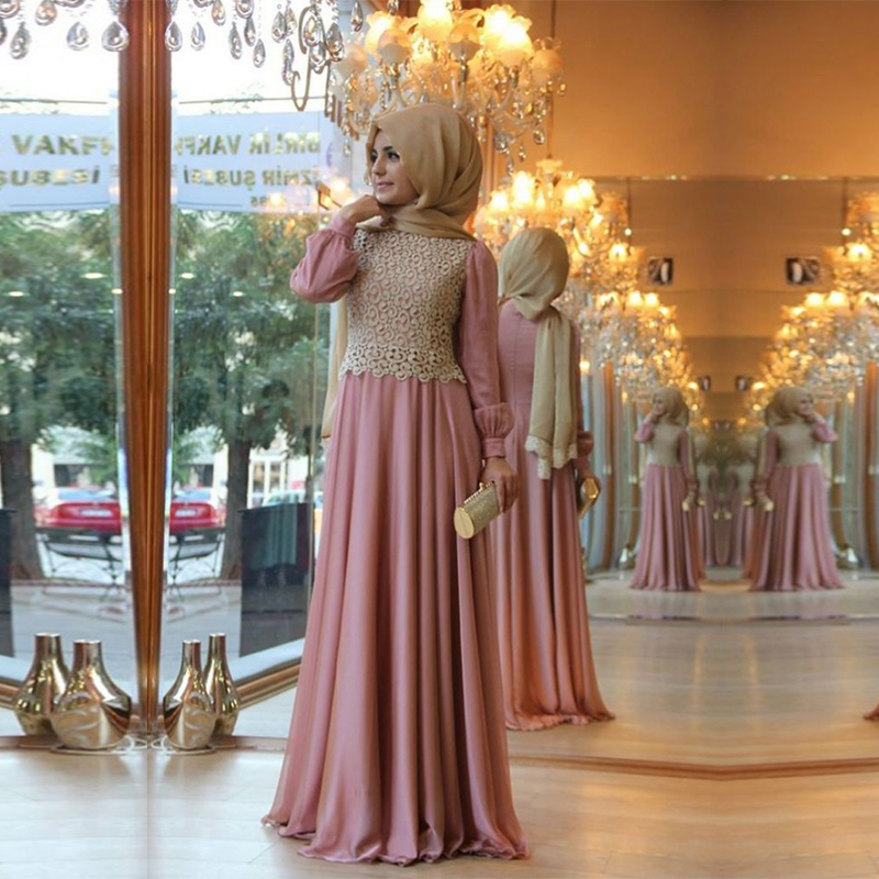 Cheap Muslim Arabic Prom Dresses For Wedding Party Long Sleeve Hijab
