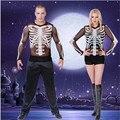 2016 новый сексуальный Черный Скелет Костюм Любителей Скелет Топ Призрак одежда Этап Равномерное Костюмы вампиров Хэллоуин для Женщин мужчин
