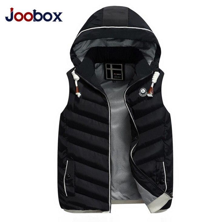 JOOBOX Autumn Winter hooded Slim Mens Jacket Sleeveless Vest Fashion Hat Detachable Thicken Waistcoat Casual Waterproof Vest