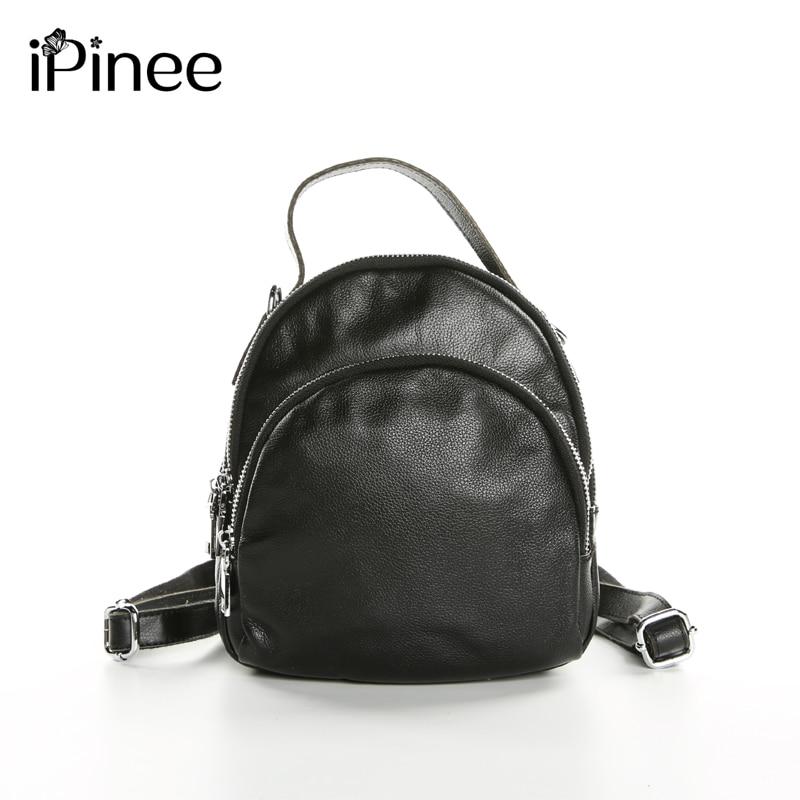 iPinee New 2019 Multifunctional Female Shoulder Bags Genuine Leather Backpacks Small Cowhide Bags For Women