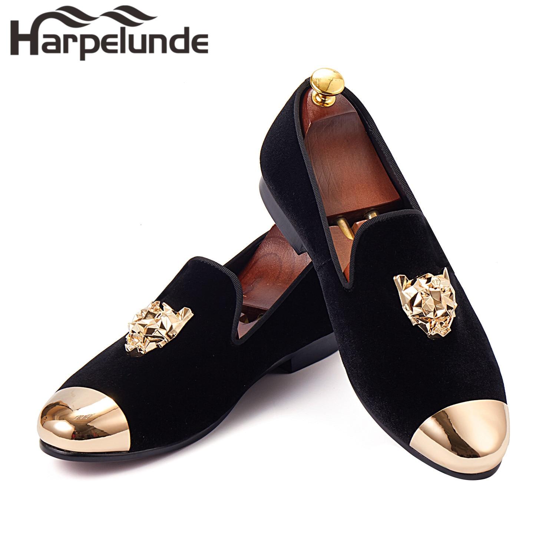 Harpelunde 동물 버클 남성 드레스 신발 블랙 벨벳 로퍼 골드 캡 발가락 크기 6-14