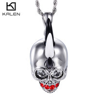 Kalen Gothic Exaggerate Punk Skull Necklace Stainless Steel Red Teeth Horn Skeleton Skull Pendant Necklaces Rock Men's Accessory