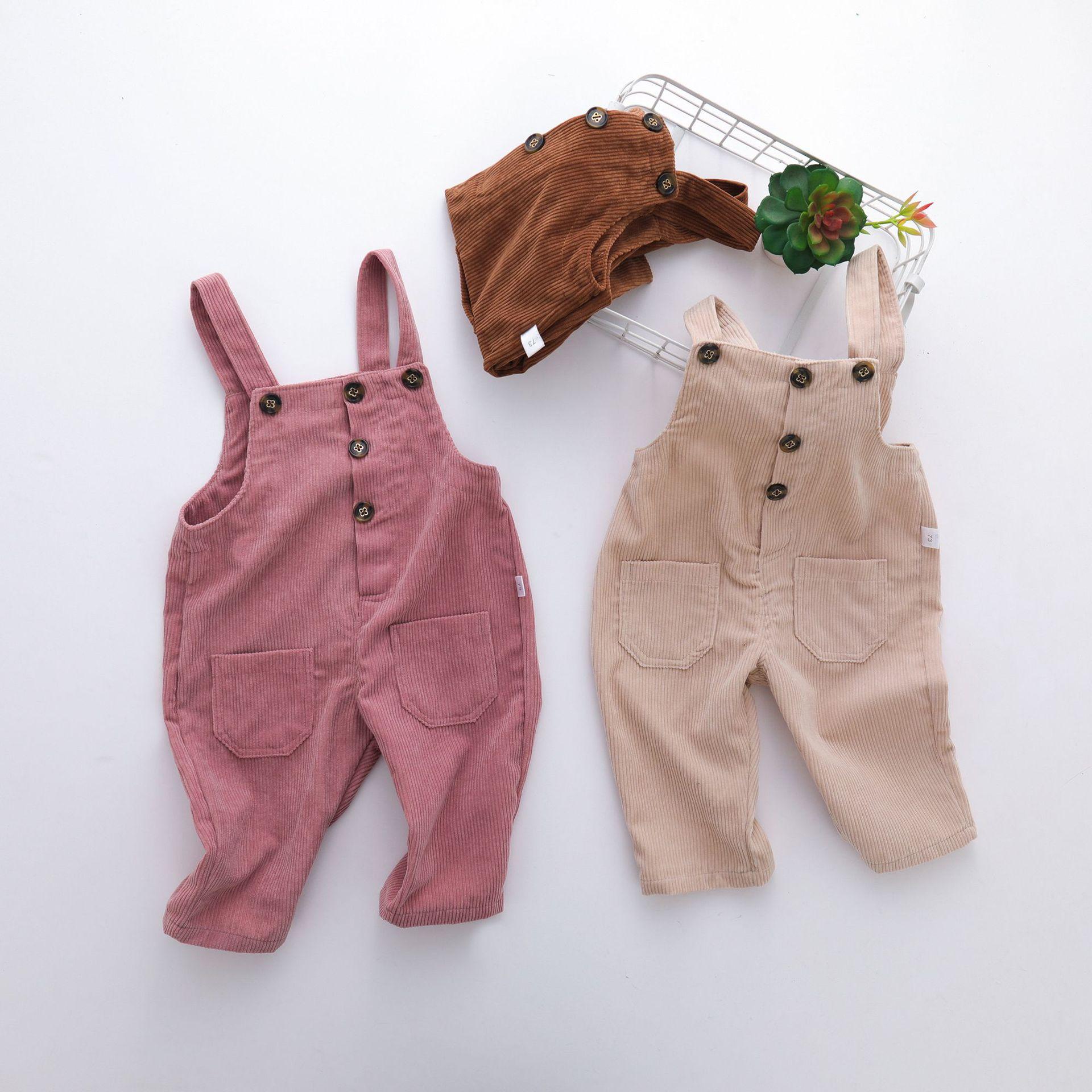 Mono De Pana De Color Caramelo Para Nina Pelele Para Nina Pequena Pantalones De Pp Ropa Para Bebe Otono E Invierno Pantalones De Peto Aliexpress