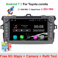 2 din Android 7.1.1 car dvd player for Toyota Corolla 2007 2008 2009 2010 2011 Quad Core 8 inch 1024*600 screen car stereo radio