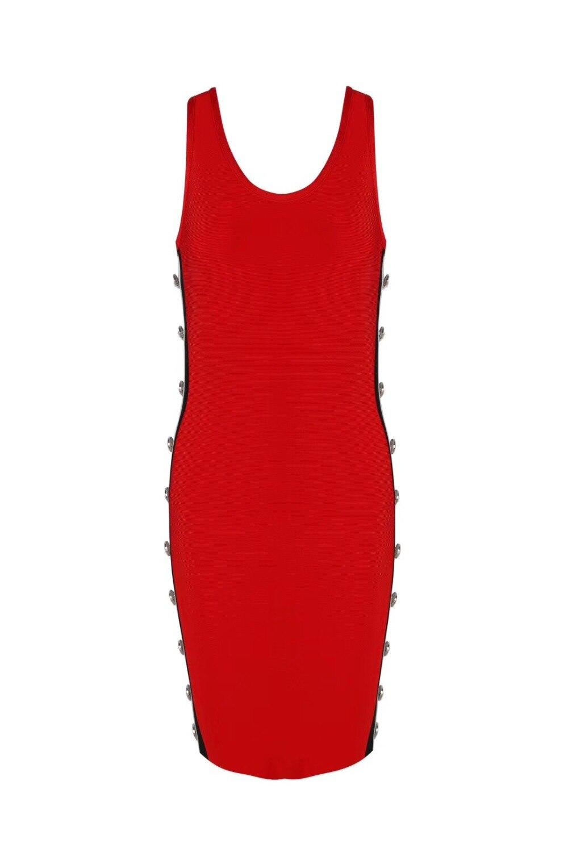 Rouge Bandage Nouveau Perles Élégant Manches 2018 Sans Parti Designer Femmes Sexy Robe Tricoté xFYxqHwZX