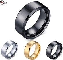 8mm anillo tungsten oro/negro acabado mate cepillado centro de bordes biselados hombres joyería de compromiso de ajuste cómodo nunca se desvanecen