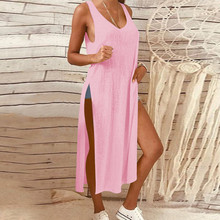 Summer Women 2019 Casual Sleeveless Loose Dress Sexy V-neck Off-the-shoulder Split Solid Color Long Dress Plus Size