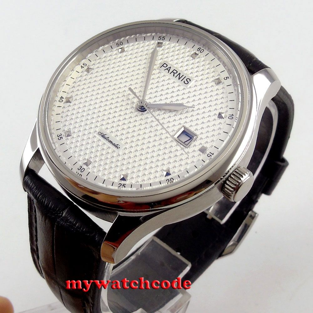 43mm parnis white dial date window leather strap ST automatic mens watch522 жан кристоф гранже полет аистов
