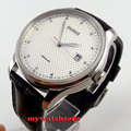 43mm parnis white dial date window leather strap seagull automatic mens watch522