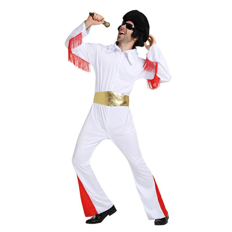 Cosplay Costumi Di Halloween Super-Vestiti Del Partito Cantante Bianco Abbigliamento Per Adulti Elvis Presley Abbigliamento Roccia Star Prestazioni panno