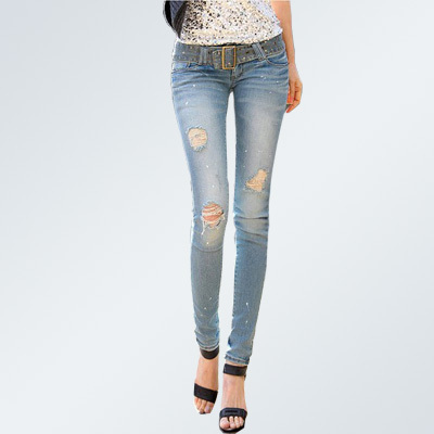Online Shop Viola- Women's Distressed Polka Dot Skinny Jeans Slim ...