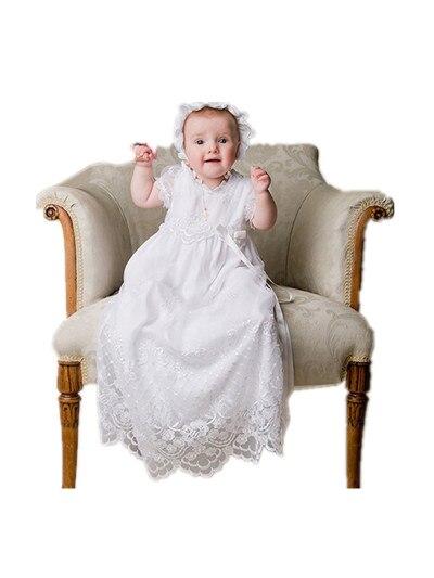 8b3263586cb77 BÉBÉ WOW WhiteToddler Baptême Bébé Fille Robes De Baptême Longue Robe avec  un Chapeau De Dentelle