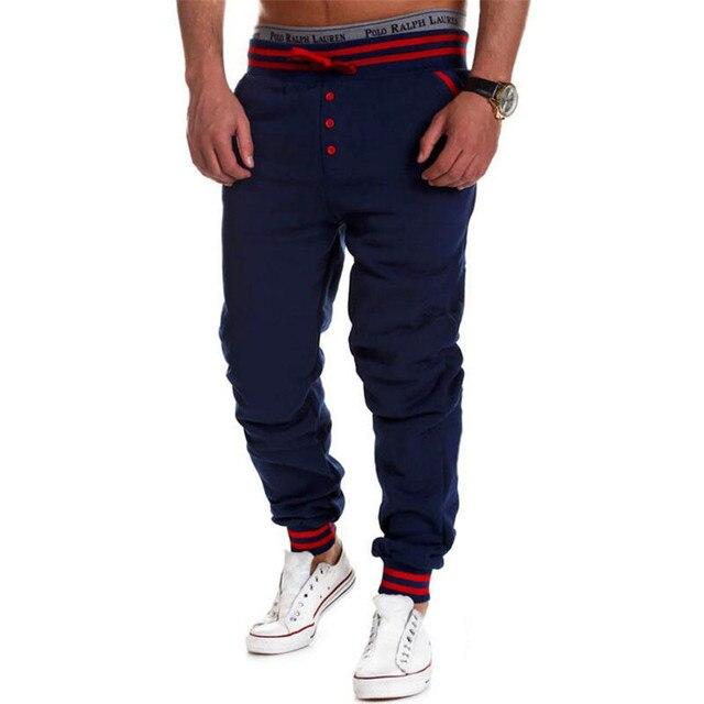 Casual Mens Joggers Trousers 2016 Male Brand Men Pants Harem Decorative Buttons Sweatpants Solid Jogger Pantalones XXL
