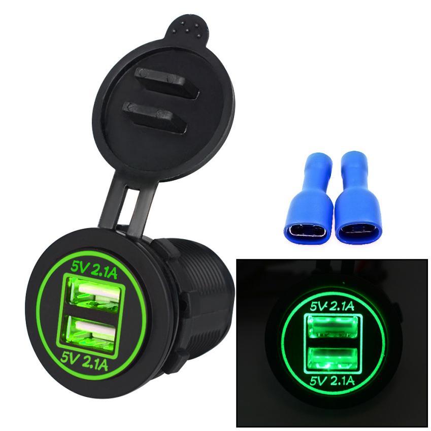 2017 авто-Стайлинг автомобиля заряда 5 В 4.2a Dual USB Зарядное устройство гнездо адаптера Мощность выход для 12 В 24 В мотоцикл LED feb15 o16 ...