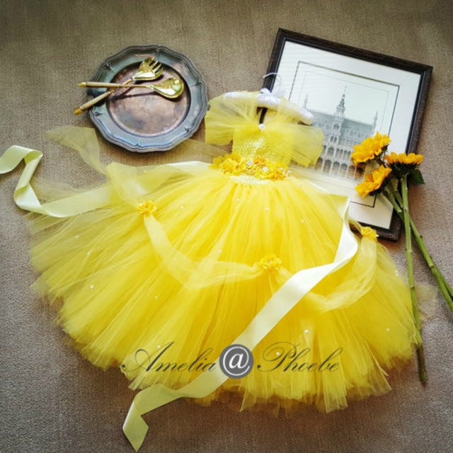 87190665ee Princess Belle Tutu Dress with Flower Belt for Wedding Party Cosplay Beauty  and The Beast Yellow Flower Girl Tutu Dresses