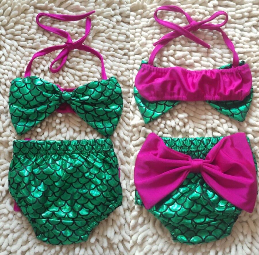Småbarn Barn Barnflicka Sjöjungfru Baddräkt Tankini Bikini Set - Sportkläder och accessoarer