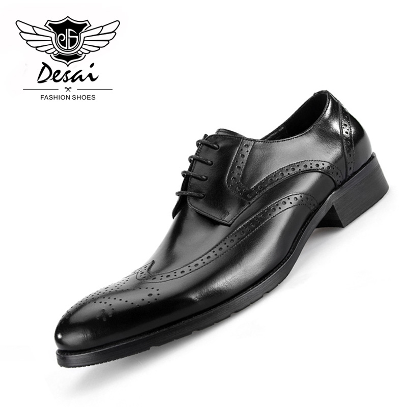 Summer New Shoes Men Hot Sale Business Dress Shoes Oxford Vintage Buloocks Carved Genuine Leather Causal Breathable Shoes england carved men s business dress shoes leather men s shoes european version breathable black and white fight color shoes