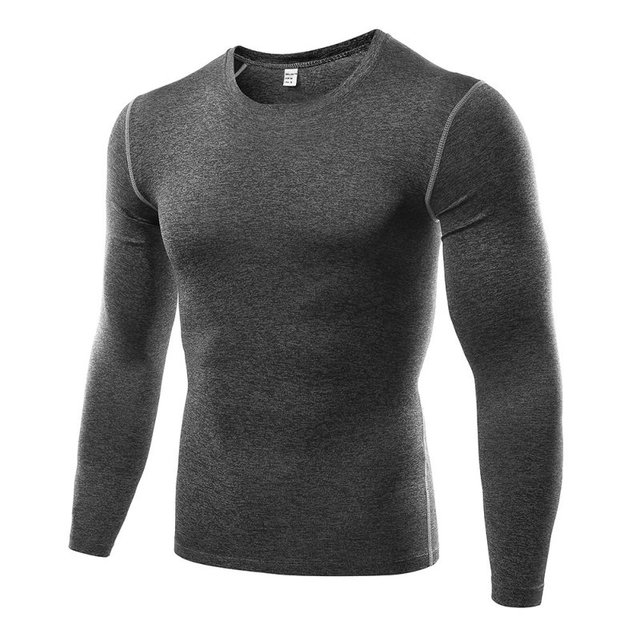 2018 New Quick Dry Men Compression Sports Shirt Long Sleeves Tshirt Fitness Clothing Solid Colorquick Dry Bodybuild Crossfit
