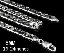16 18 20 22 24INCHES Free shipping Beautiful fashion silver plated charm solid 6MM men noble chain pretty Girl Necklace JEWELRY