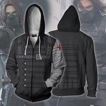 Fans Wear Sweatshirts 3D Printed Hoodies Winter Soldier Bucky Barnes Zip Up Sweatshirt for Marvel Movie Fans