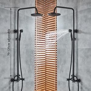 Image 4 - Shinesia antika/siyah bronz banyo duş seti mikser musluk çift kolları sıcak ve soğuk su duvara monte duş sistemi