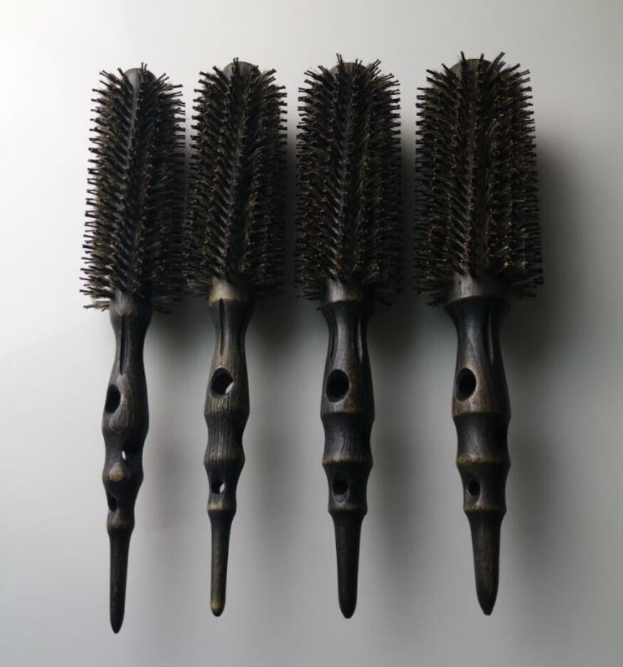 Hot Iron Brush Anti-Static Hi-heat Resistant Carbon Wood Brush Pro Air & Heat Hair Brush GIC-HB542 (4pcs/set) Free Shipping