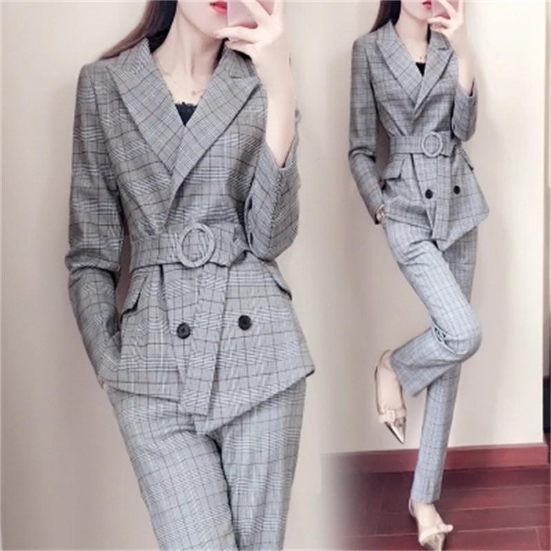 Fashion Plaid Suit Female New Korean Version Of The Waist Temperament British Wind Suit Pants Two Sets