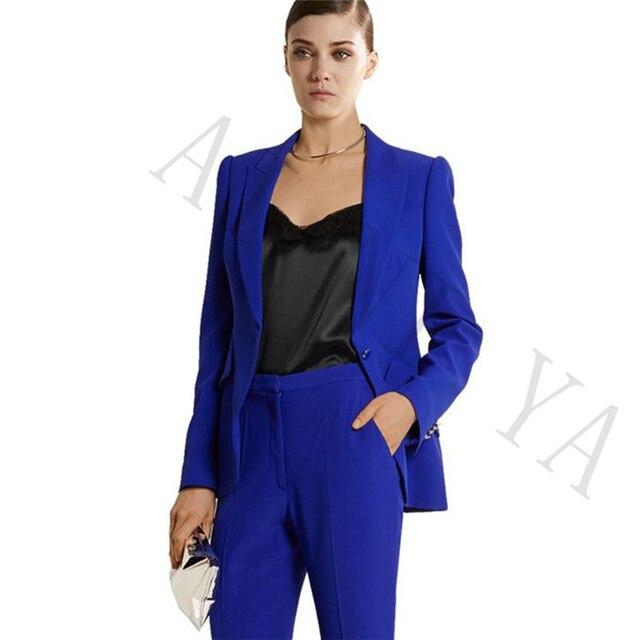 2f636fd289 Jaqueta + Calça Ternos de Negócio Das Mulheres Blazer Azul Royal Feminino  Uniforme Escritório Senhoras Calças