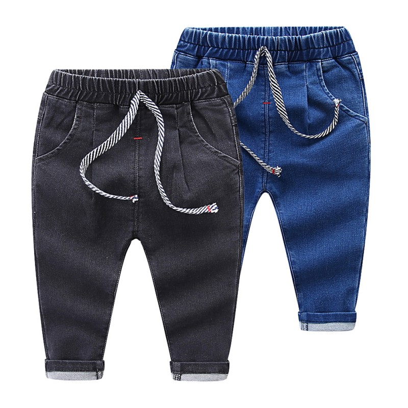 Children's Fashion Jeans Boys And Girls Solid Color Elastic Waist Jeans Trousers Pants Kids Wear 2 Colors Available