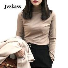 Jvzkass 2019 new spring high collar shirt womens Slim long-sleeved solid color T-shirt wild heap Z142