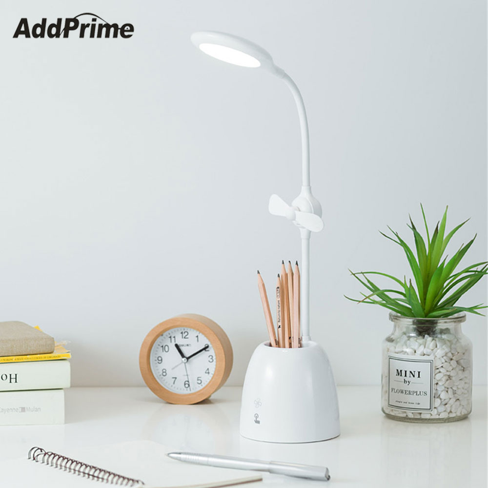 3-in-1 USB LED Table Lamp Light With Fan Pen+Pen holder For Student Bedroom Reading Book Lights Desk Lamp Warm White Protect Eye flexible usb led table lamp reading light desk book lights easy clip on table with switch eye protect