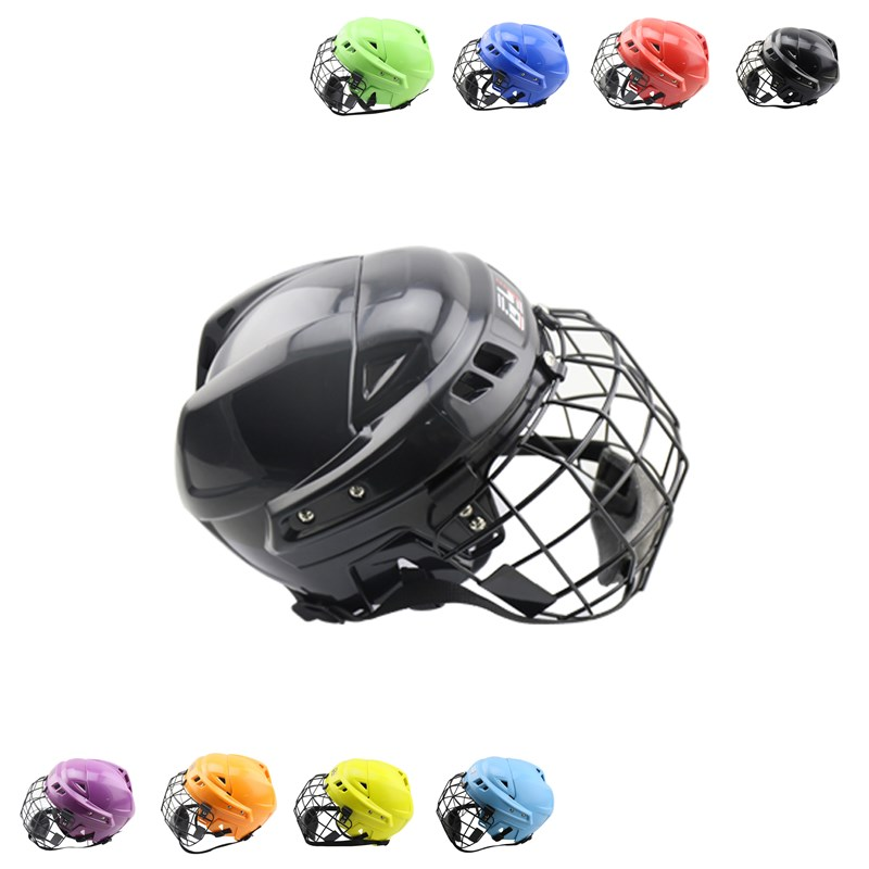 Nine color! youth ice hockey equipment with face mask teenager&adult skates hockey player helmet protection yellow ice hockey face mask ce certificate hockey helmet for player free shipping