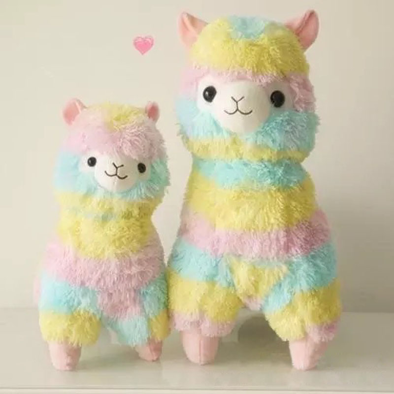 Children's 50cm/30cm Colorful Rainbow stuffed Arpakasso Alpacasso cute Alpaca Llama Plush kids Xmas gifts Free hot 45cm good night alpaca toys japan amuse alpacasso arpakasso plush stuffed doll kids alpaca christmas gifts toy 5styles