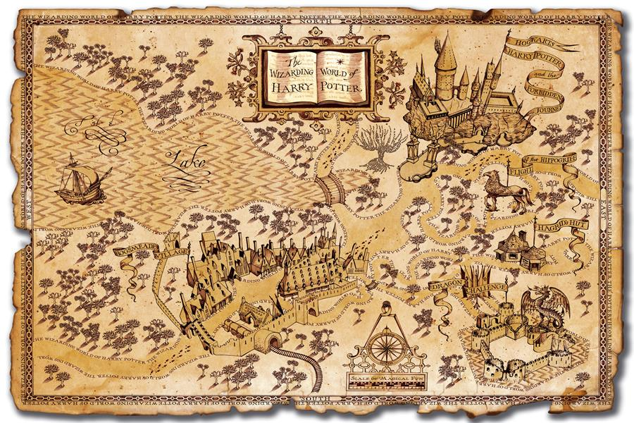Custom Canvas Harry Potter Magic World Map Famous View
