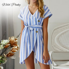 WildPinky 2019 Summer New Fashion V-neck Short Sleeved Bandage Party Dress Casual Striped Mini Dresses Elegant Female Vestidos