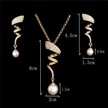 Vintage Imitation Pearl necklace Gold jewelry set for women Clear Crystal Elegant Party Gift Fashion Costume Jewelry Sets