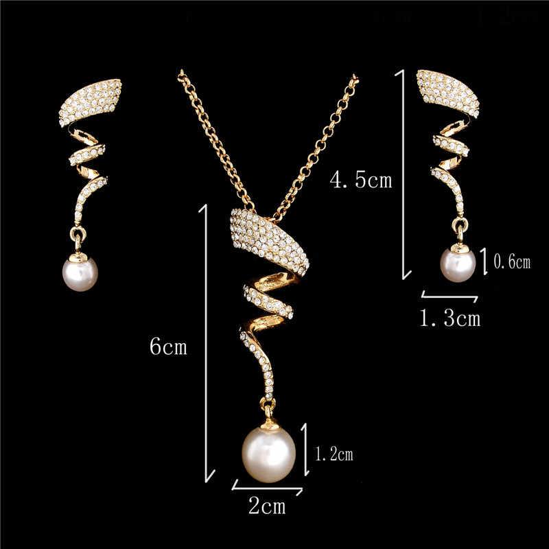 Vintage naszyjnik z imitacji pereł złoty kolor komplet biżuterii damskiej jasny kryształ elegancki prezent na przyjęcie moda kostium biżuteria zestawy