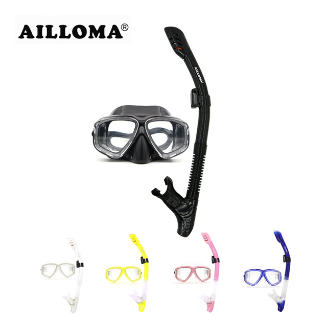 AILLOMA Professional Scuba Diving Mask Tube Silicone Waterproof Anti Fog Underwater Snorkeling Diving Masks And Snorkels Set
