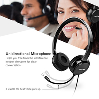 Mpow Headphones USB Headset Stereo Audio W Noise Reduction Sound Card In Line Control Protein Memory