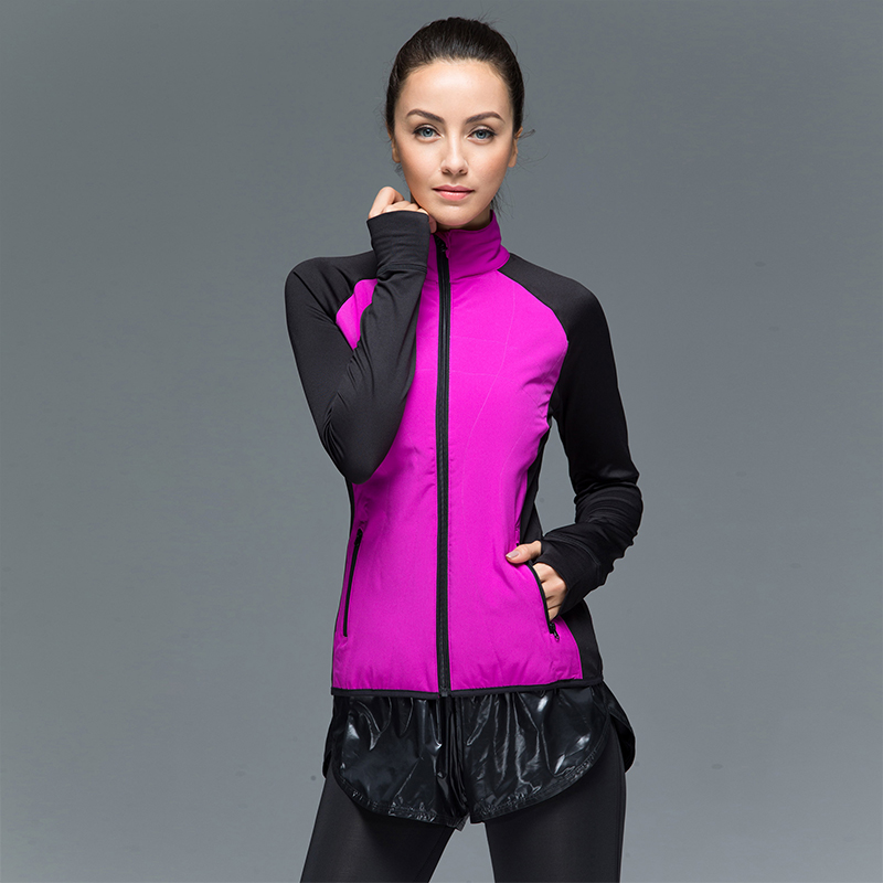 Running Jacket för Women Fleece Thumb Hole Ställkrage Full Front Zip Arm 2 Fick Outdoor Sports Jogging Jacket Andas