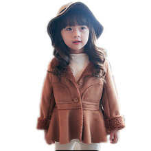 2016 девушка пальто зимнее утолщаются теплый ребенок зимнее пальто конфеты цвет девушки кожаная куртка из искусственного меха однобортный малыша девушка пальто
