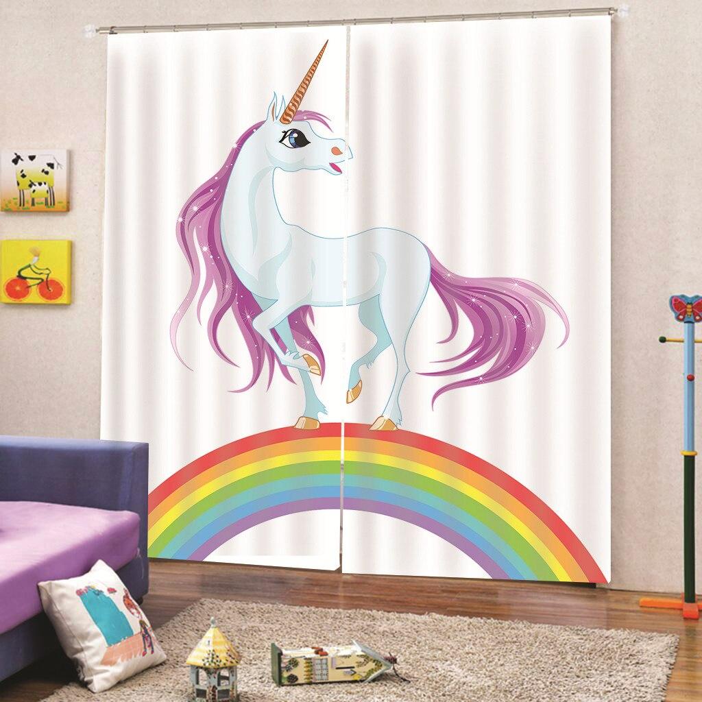 Unicorn Print Windows Curtains For