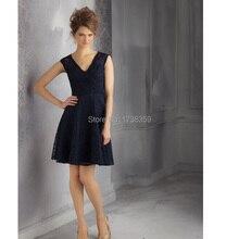 2014 Free Custom Made New Arrival Country Style Vestido de Festa Sheer Back Sleeveless V-Neck A-Line Short Lace Bridesmaid Dress