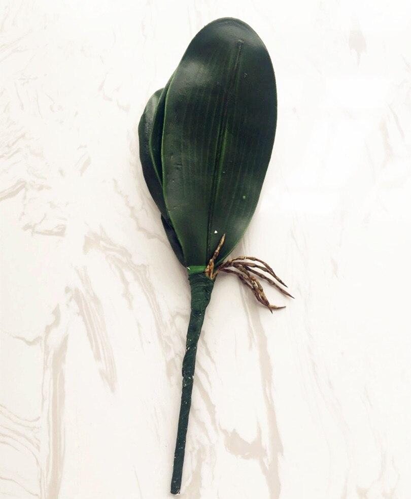 6tk võlts orhidee lehed kobaras kunstlik 5 lehed rohelus 28cm - Pühad ja peod - Foto 3