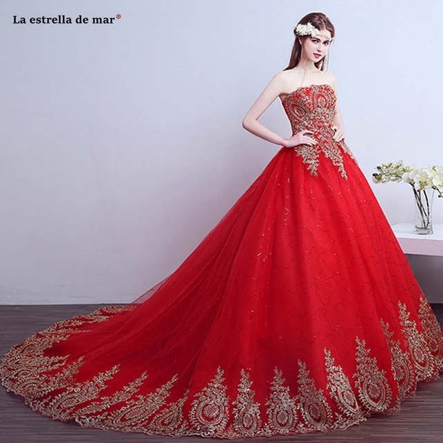 Robe de mariee 2018 new Strapless a Line tulle lace sequins gold red  wedding tail 50CM cheap pregnant women vestido de noiva 99bfe6f20644