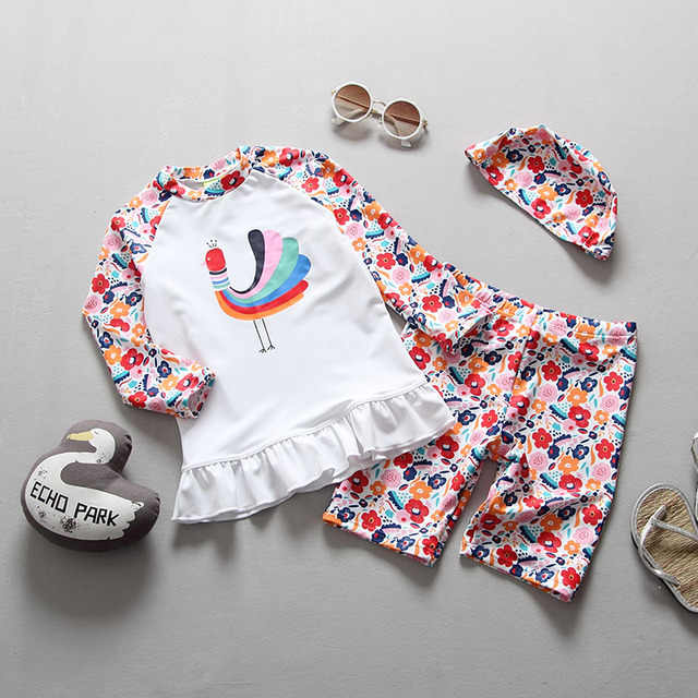 2018 Toddler Girls Swimsuits Separate Two Pieces Rash Guards Floral Printed Peacock Children Swimsuit for Girls Kids Swimwear