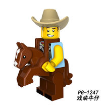 PG8152 Cowboy Suit Guy 18th Figures Building Blocks Bricks Compatible with Legoingly figure DIY Gifts Toys Kids(China)